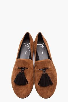 Fancy - Giuseppe Zanotti Brown Tassled Kevin 10 Loafers for men | SSENSE