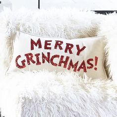$39.50:: Merry Grinchmas Pillow Cover — PBteen.com:: I bet I can make this for less cash...
