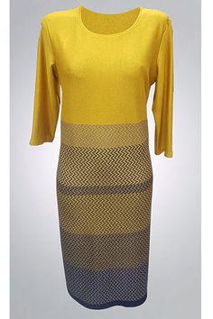 Hořčicové šaty s modrým vzorem Zaria Pauline Sweaters, Dresses, Fashion, Vestidos, Moda, Fashion Styles, Sweater, Dress, Fashion Illustrations