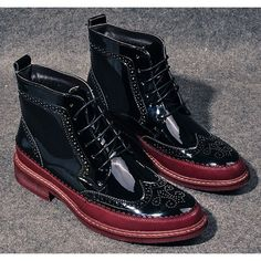 Black Burgundy Patent Leather Lace Up Winter Dress Brogue Boots Men SKU-1100954
