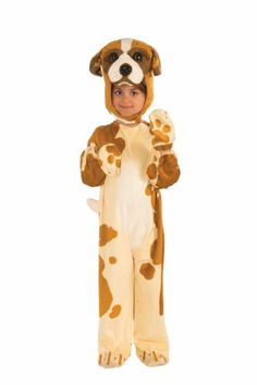 Kids Costumes - This child Plush Brown Dog Kids Costume features the brown and tan spotted dog print jumpsuit with tail and with shoe covers and mitts, and the matching hood/headpiece with face and ears. Dog Costumes For Kids, Baby Halloween Costumes Newborn, Best Dog Costumes, Toddler Boy Costumes, Halloween Costumes 2014, Little Girl Costumes, Halloween Kids, Black Friday Toy Deals, Costume Craze