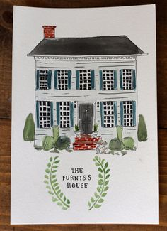 "Custom Watercolor House Portrait    A hand-painted portrait of your ""home sweet home"". This illustration style house portrait can be a great"