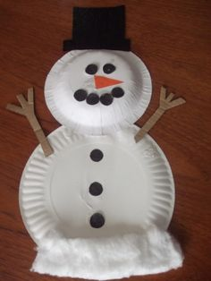Snowman Paper Plate Activity- simple activity for the kids using paper plates