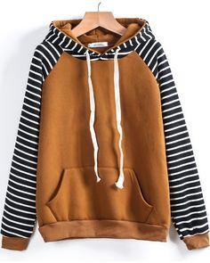 Sudadera suelta con capucha rayas manga larga-amarilo 13.03