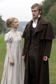 There were effusions from himself, blushes from Jane Bennet, and nine months of heartache on her part suddenly evaporated. Morven Christie as Jane Bennet and Tom Mison as Mr. Bingley in Lost in Austen. My favourite Bingley. Tom Mison, Regency Dress, Regency Era, Period Costumes, Movie Costumes, Historical Costume, Historical Clothing, Period Drama Movies, Period Dramas