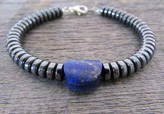 men's bracelet hematite & lapis lazuli bracelet by earthwatersol