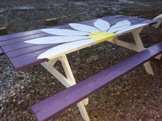 Painted flower picnic table
