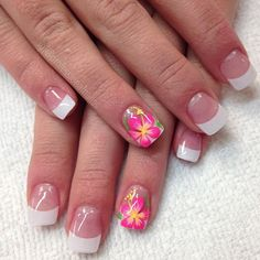 French Tip Acrylic Nails, French Tip Nail Designs, French Nail Art, Nail Art Designs, Nails Design, Pink Nail Art, Pink Nails, Full Set Gel Nails, Hawaii Nails
