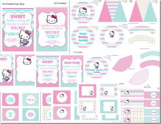 Hello Kitty Party Printables Set  Invitations, Decorations, Tags, Labels, Banner  The Printable Party Shop