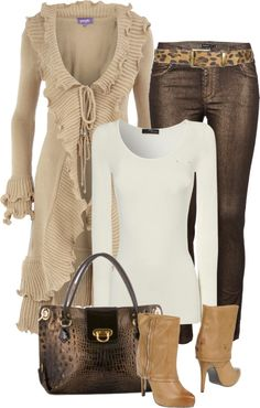 """Stone Ruffle Cardigan"" by melindatg on Polyvore"