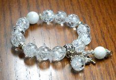 Crystal Quartz Moonstone Charm Bracelet MASTER HEALER by iyildiz, $24.00