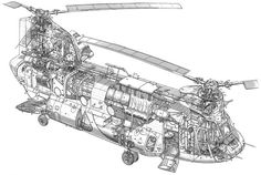 An HC Mark II Chinook helicopter cutaway drawing.