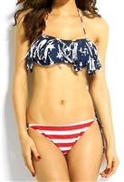 sexy patriotic bikini has tassel bikini top with removable straps and bra cups and bottom ties on sides for an adjustable perfect fit, very trendy with fringe American flag bikini top, sexy summer swimwear 2 piece bikini set, patriot swimwear bikini set