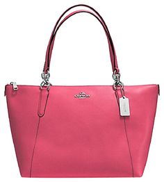 Coach 57526 Crossgrain Leather Ava Strawberry Pink Tote Bag.