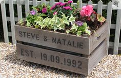 personalized apple crate for your garden; add wheels for a patio planter; or add a top and use as an outside storage table :-)