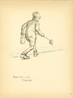 Vintage 1933 JH Dowd Children's Print  - Gone Fishing