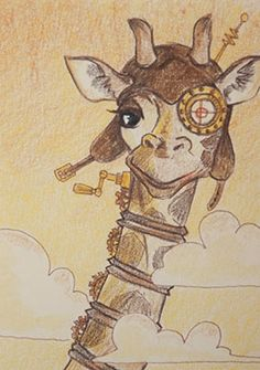 Steampunk Giraffe ATC by kosmicgirl on IATCs