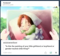 Gotta love eng-dubbed hetalia...Why yes, that is my gender neutral chibi thing.