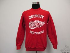 Vtg 90s Fruit of the Loom Detroit Red Wings Crewneck Sweatshirt sz L Large NHL #FruitoftheLoom #DetroitRedWings