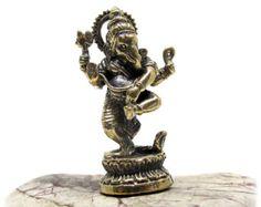 Statua di Ganesh Ganesh amuleto Dancing Ganesha Abhanga Decor indù statua indù Yoga Decor altare indù meditazione altare Mini Ganesh Santuario