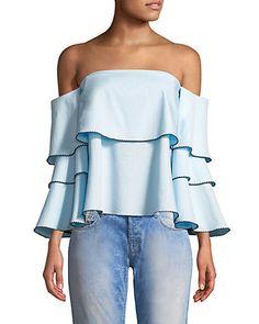 Rue La La — sight Striped Off-the-Shoulder Blouse Shoulder Sleeve, Off Shoulder Blouse, Off The Shoulder, Boy Outfits, Fashion Outfits, Cotton Blouses, S Models, Color Patterns, Luxury Fashion