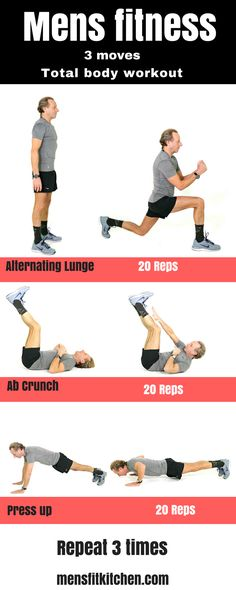 Mens fitness. Total body workout for Men. Home fitness