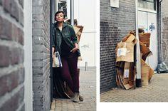 hidden alley. street, streetstyle, military jacket, burgundy jeans, flag, black tee, h neon necklace, netherlands