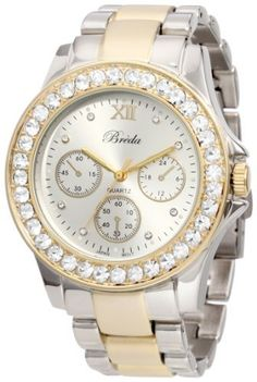 """Breda Women's 5169-Twotone """"Sawyer"""" Rhinetone Bezel Two-Tone Metal Band Watch Breda. $42.00. Rhinestone encrusted gold metal bezel. Silver and gold metal three link band with fold over clasp. Highest Standard Japanese Parts Quartz Movement. Silver dial with rhinestone time markers and contrasting hour, minute, and second hands. Water-resistant - not recommended to take into deep water or shower. Save 30% Off!"""