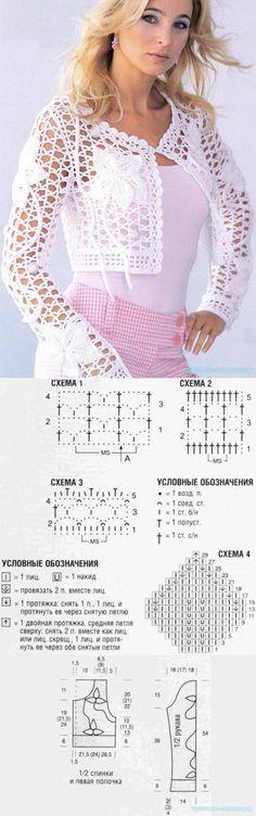 Красивое вязание   Ажурное болеро
