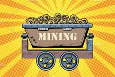 mining trolley with cryptocurrency bitcoin Graphics mining trolley with cryptocurrency bitcoin. Golden background. Pop art retro comic book vector illus by studiostoks