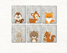 Woodland Animals Set Of 6 - Printable Nursery Wall Art, Forest Animals Decor, Woodland Baby Shower Poster, Bear, Deer, Squirrel, Fox, Rabbit