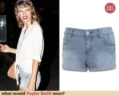 Taylor Swift's striped denim shorts. Outfit Details: http://wwtaylorw.com/3103
