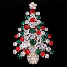 Christmas tree Brooch Pin W Swarovski Crystal P171