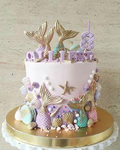 Mermaid Birthday Cakes, Mermaid Cakes, 4th Birthday Cakes, Bolos Pool Party, Sirenita Cake, Ocean Cakes, Crazy Cakes, Cute Desserts, Girl Cakes