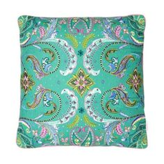 Butterfly Home by Matthew Williamson Designer green floral beaded cushion- at Debenhams.ie
