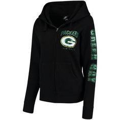Women's Green Bay Packers New Era Black Playbook Glitter Sleeve Full-Zip Hoodie Packers Gear, Green Bay Packers Shirts, Football Outfits, Spring Street Style, Full Zip Hoodie, Hoodies, Sweatshirts, Hooded Jacket, Sweatshirt