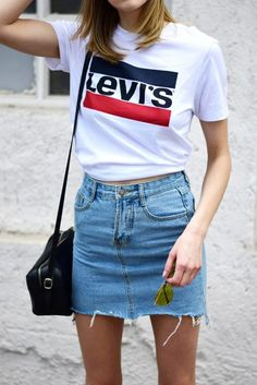 Get Your Essential Plain White Blue And Red Logo Levi's T-Shirt This Summer And Team It With A High Waisted Light Blue Denim Jean Mini Skirt Tumblr