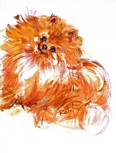 Pomeranian - Pom Watercolor dog print Like all our paintings, this painting comes in three sizes: 10X12 @ $25.00 -- 16X20 -- 22X28 @ $145.00. The largest, 22x28, is a limited edition of 350 and is individually numbered. Carol has painted at least 200 images of dogs, cats, children