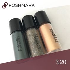 MAC Cosmetics (Small size) Pigment/Glitter Bundle 100% authentic MAC Cosmetics Pigments and glitter bundle of 3. All completely full, never used. Former Mac employee, these came from a holiday set display. Colors are: first green, reflects antique gold and melon. MAC Cosmetics Makeup Eyeshadow