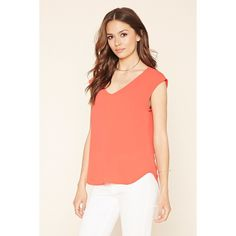 Love 21 Women's  Contemporary V-Neck Top ($11) ❤ liked on Polyvore featuring tops, red v neck top, sleeveless tops, woven top, v neck top and love 21