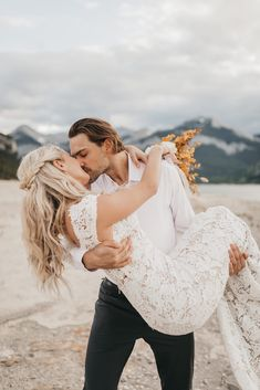 Bohemian Barrier Lake Elopement With Dried Palms & Understated Earth Tones - Elopement on Bronte Bride #elopement #albertaelopement