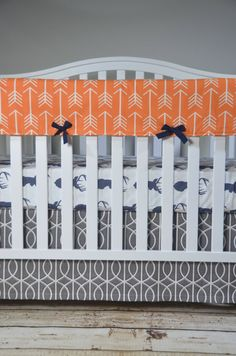 Deer Head Crib Bedding In Navy, Orange And Gray -many Ordering Options Described…
