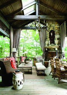 North Carolina show house screen porch - Francie Hargrave via Atticmag