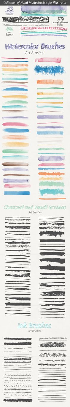 Collection of Hand Made Brushes For Adobe Illustrator #design #ai Download: http://graphicriver.net/item/collection-of-hand-made-brushes/7644175?ref=ksioks