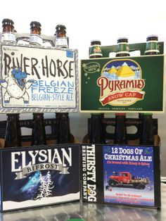 New winter beers available! River Horse Belgian Freeze, a Belgian Dark Ale, 8% abv.  Pyramid Snow Cap, a winter warmer ale, 7% abv.  Elysian BiFrost winter ale, a bold pale ale, 7.5% abv.  Thirsty Dog 12 Dogs Of Christmas Ale, a winter warmer ale, 8.3% abv.
