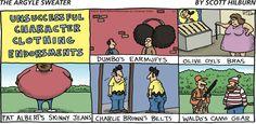 #CharlieBrown's belt didn't make it.   Read The Argyle Sweater #comics @ www.gocomics.com/theargylesweater/2015/02/01?utm_source=pinterest&utm_medium=socialmarketing&utm_campaign=social-pin-crossover-peanuts65   #GoComics #webcomic #Peanuts
