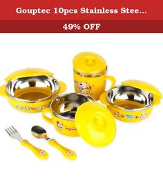 Gouptec 10pcs Stainless Steel Mixing Bowl Set With Lids Food Container Set Bowl Spoon Fork Set Tableware (Yellow). Gouptec 10pcs Feeding Set The Stainless steel Feeding Set is ideal for your baby who has just made the transition to solid food. Set includes a bowl with lid, a soup bowl with lid, a Bento Box with airtight lid and cup,spoon. You can pack, carry or store foods for short trips with ease. The perfect complete set for storing kid's food. The exterior of this durable set has a...