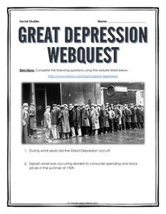 Great Depression - Webquest with Key - This 8 page document contains a webquest and teachers key related to the basics of the Great Depression in America. It contains 22 questions from the history.com website.  Your students will learn about the history of the Great Depression in the United States. It covers all of the major people, themes and events of the Great Depression.