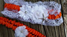 Beach wedding garter belt set / Wedding garters / beach garter set / Lace wedding garter / Starfish garter / Starfish wedding garter / orange garter / Traditional garter / Traditional weddings / orange beach garter