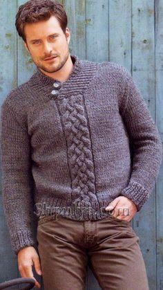 Γκρι πουλόβερ των ανδρών με ένα σάλι γιακά